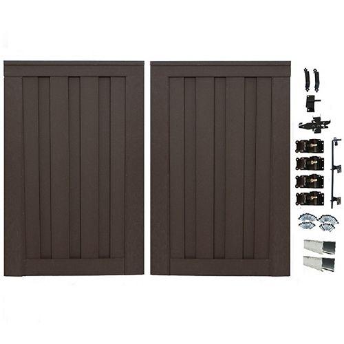 Double barrière de clôture vie privée composite couleur brun Woodland avec le matériel  6' x 8'