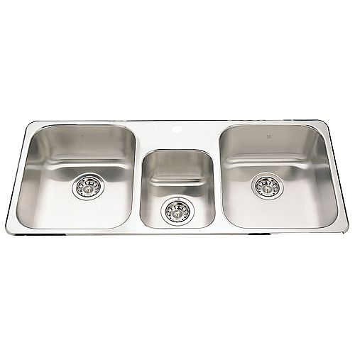 Triple Bowl Sink 1 hole drilling