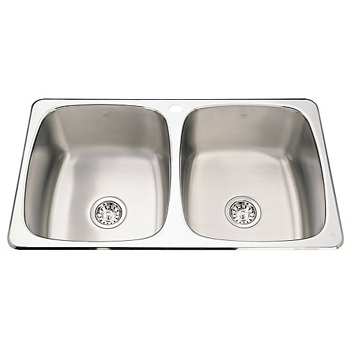 Double sink 20 Ga 1 hole drilling