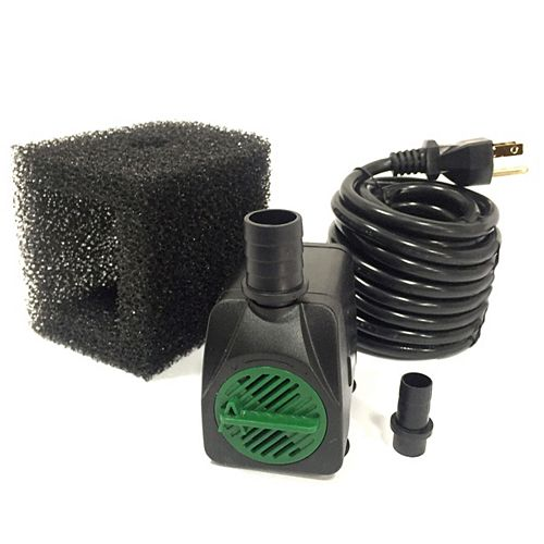 225GPH Fountain Pump, 38-inch Pumping Height, Safe-Stop Low Water Shut Off, Pump Filter, 15ft Cord