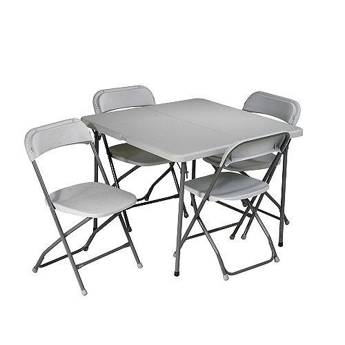 Ensemble 5 pièces en résine; 1 table et 4 chaises pliantes