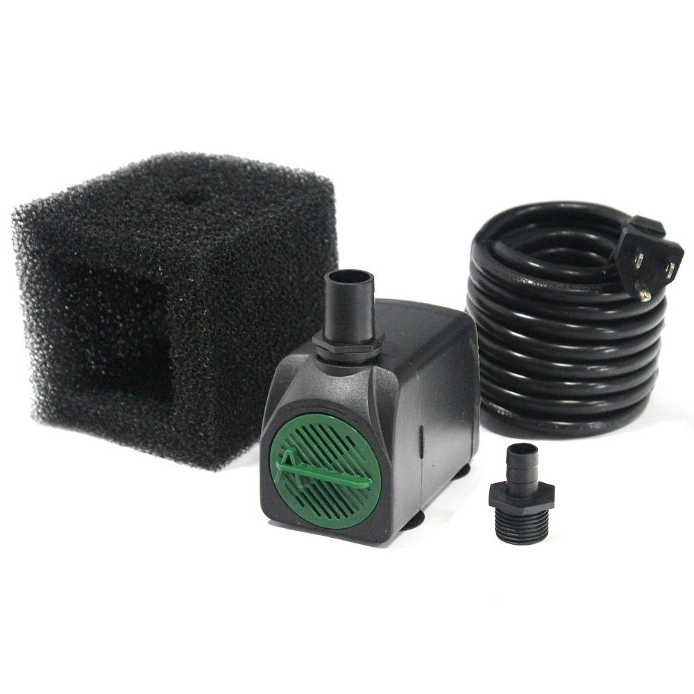 Angelo Décor 320GPH Fountain Pump, 44-inch Pumping Height, Safe-Stop Low Water Shut Off, Pump Filter, 15ft Cord
