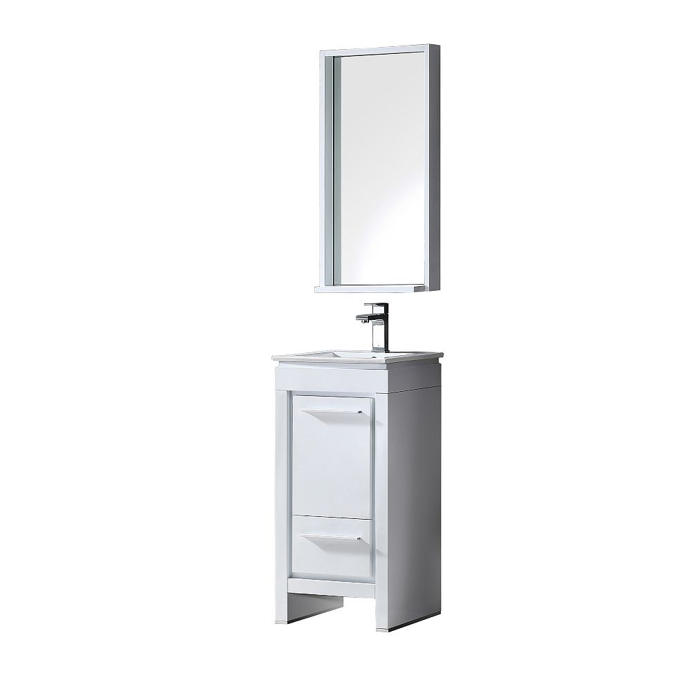Fresca Allier 15.75-inch W 1-Drawer 1-Door Vanity in White With Ceramic Top in White With Faucet And Mirror