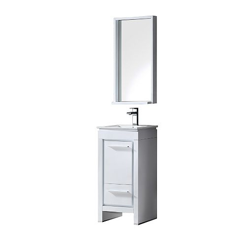 Allier 15.75-inch W 1-Drawer 1-Door Vanity in White With Ceramic Top in White With Faucet And Mirror