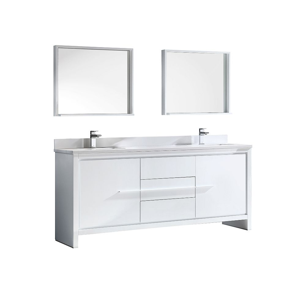 Fresca Allier 72-inch W 3-Drawer 2-Door Vanity in White With Ceramic Top in White, Double Basins