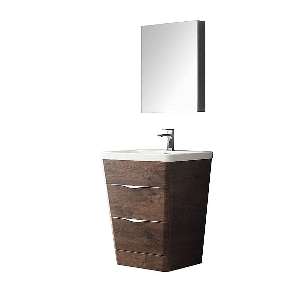 Fresca Milano 25.50-inch W 2-Drawer Freestanding Vanity in Brown With Acrylic Top in White With Faucet