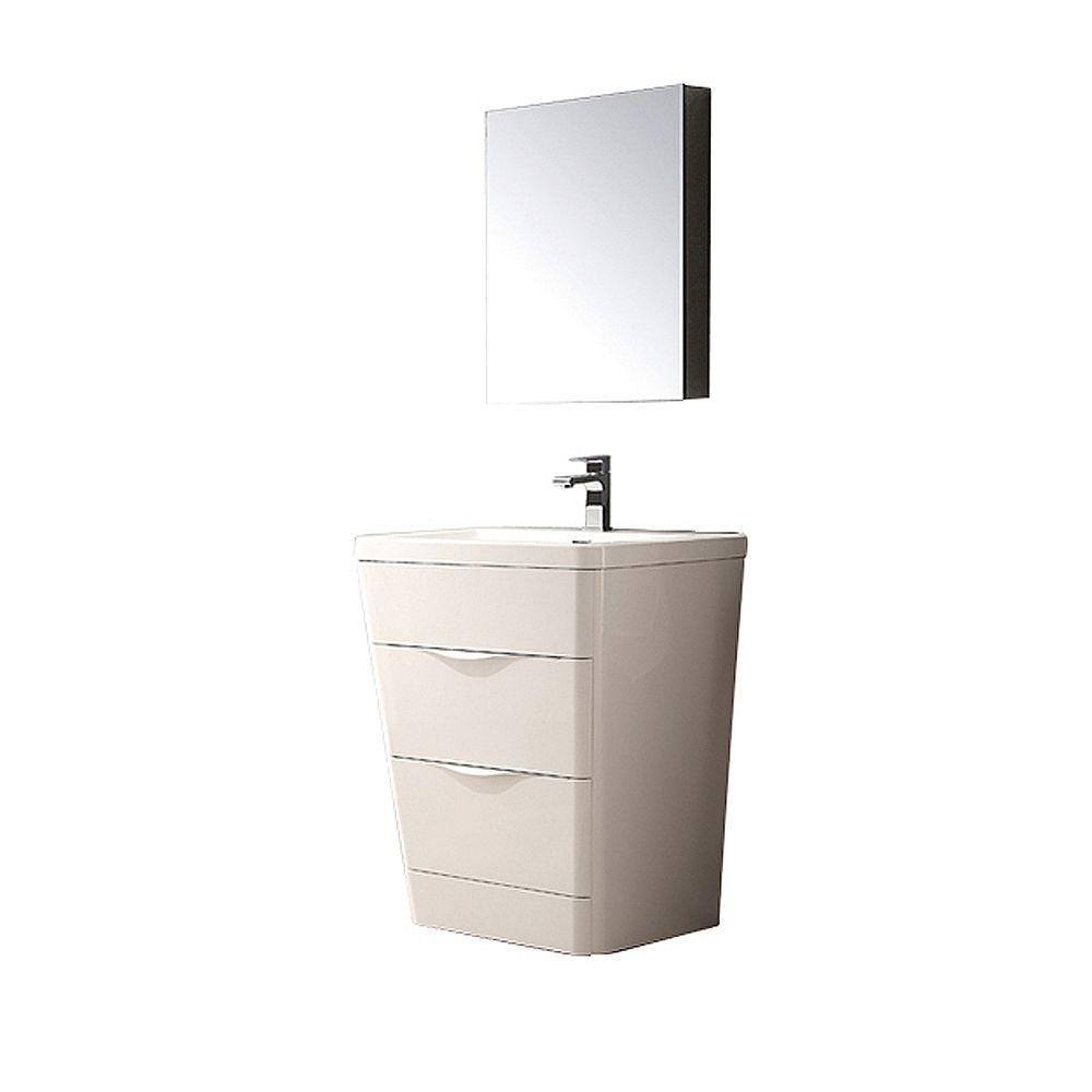 Fresca Milano 25.50-inch W 2-Drawer Freestanding Vanity in White With Acrylic Top in White With Faucet
