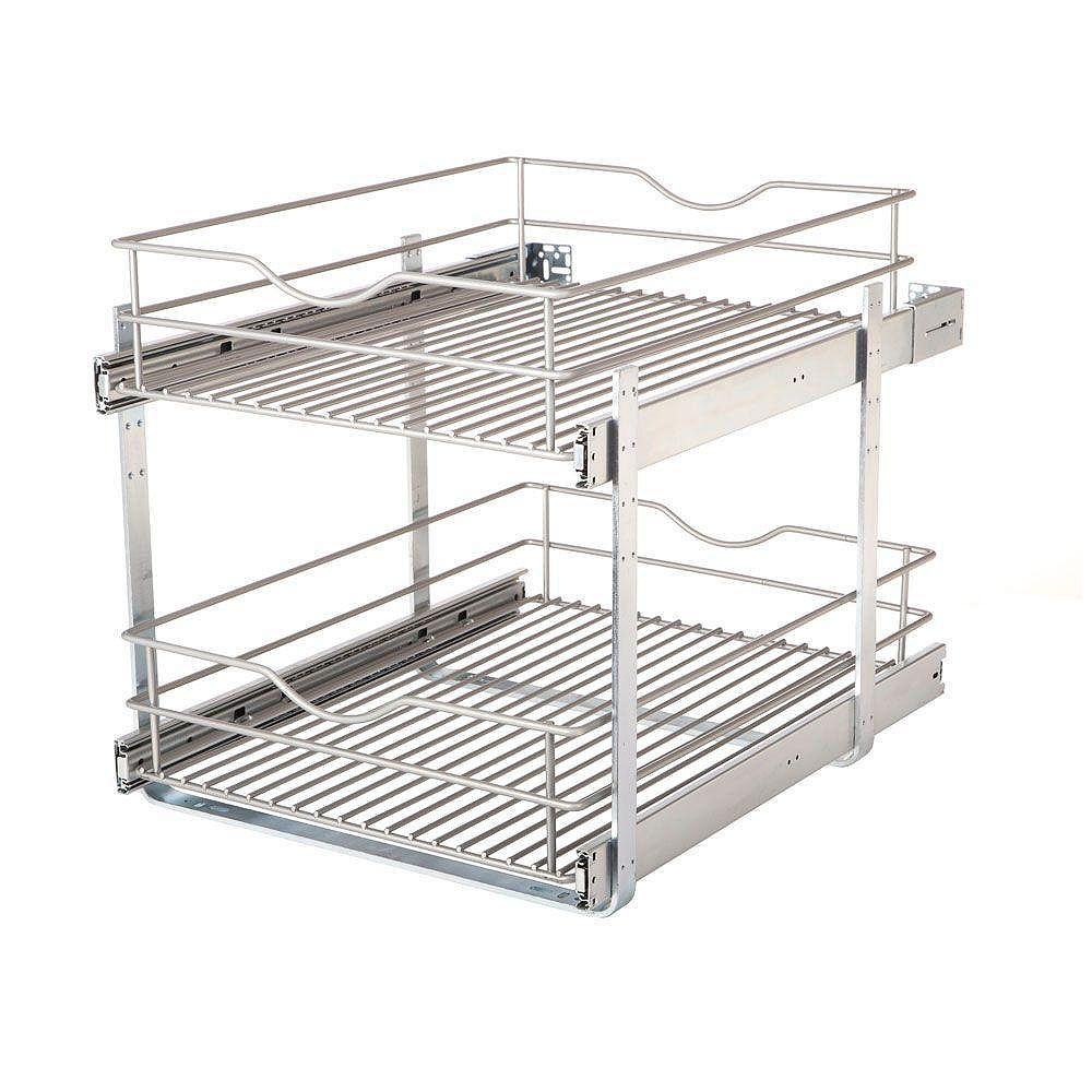 Real Solutions 17.625 in. W x 21.75 in. D x 16.25 in. H Double Tier Pull-Out Multi-Use Basket Cabinet Organizer