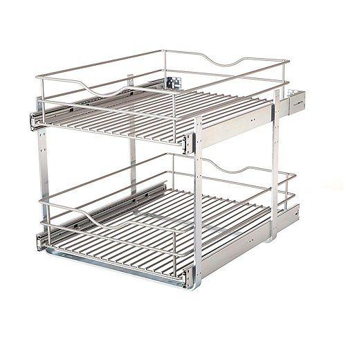 17.625 in. W x 21.75 in. D x 16.25 in. H Double Tier Pull-Out Multi-Use Basket Cabinet Organizer