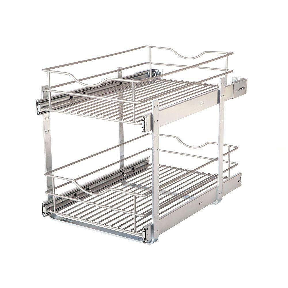 Real Solutions 14.625 in. W x 21.75 in. D x 16.25 in. H Double Tier Pull-Out Multi-Use Basket Cabinet Organizer