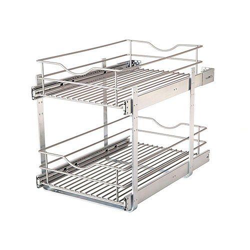 14.625 in. W x 21.75 in. D x 16.25 in. H Double Tier Pull-Out Multi-Use Basket Cabinet Organizer