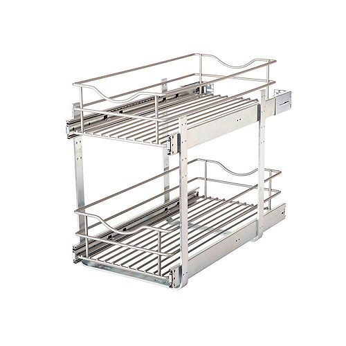 11.625 in. W x 21.75 in. D x 16.25 in. H Double Tier Pull-Out Multi-Use Basket Cabinet Organizer