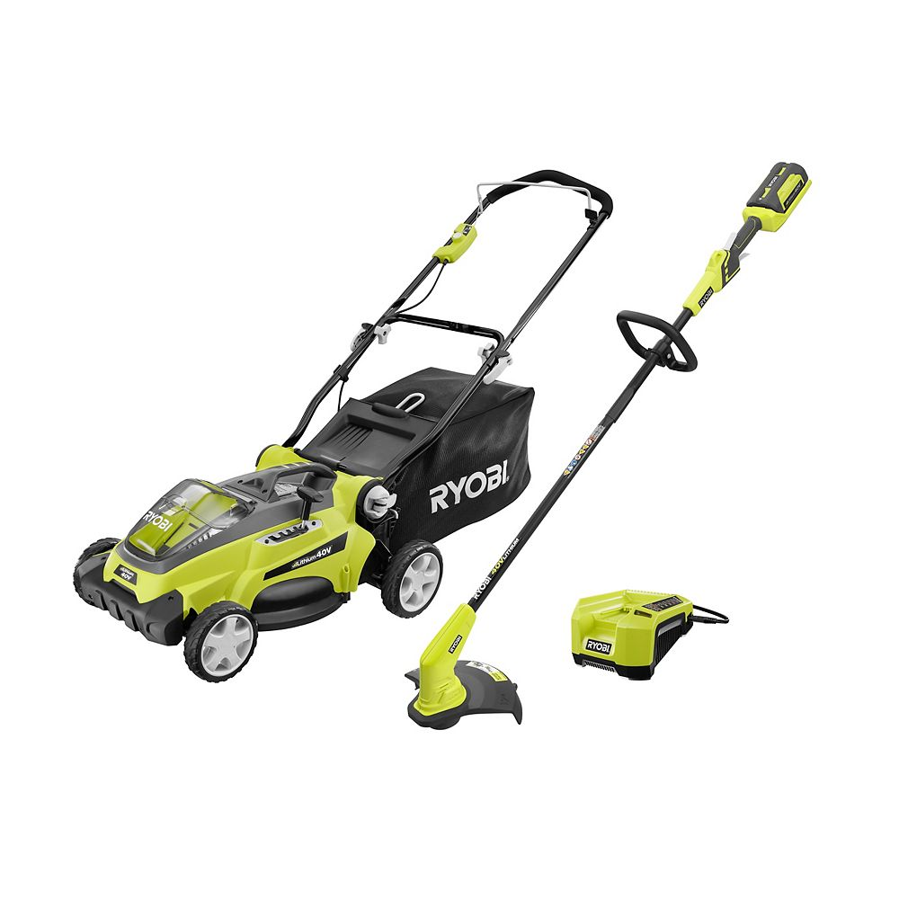RYOBI 40V Lithium Ion Electric Cordless Mower and String Trimmer Combo Kit