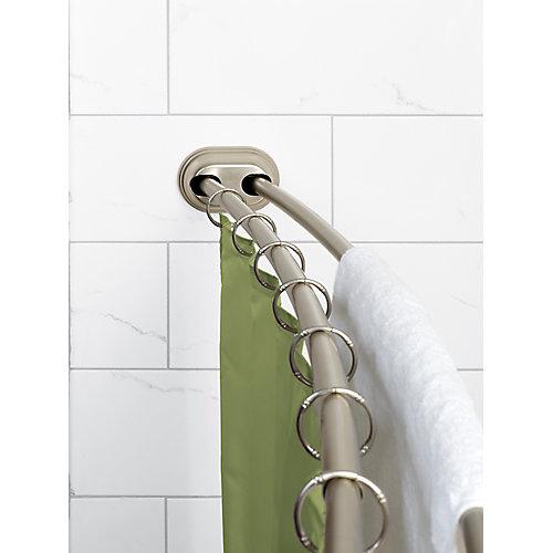 "Zenna Home NeverRust 50""-72"" Alum. Adjustable Tension Mount Double Curved Shower Rod in Satin Nickel"
