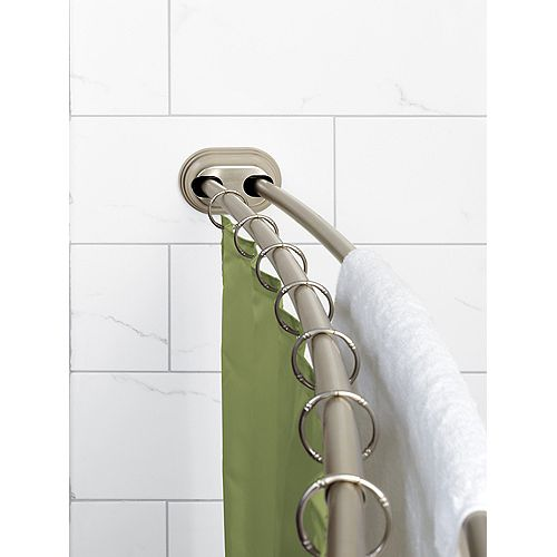 "Zenna Home NeverRust 50""-72"" Alum. Adjustable Tension Mount Double Curved Shower Rod in Satin Nickel"