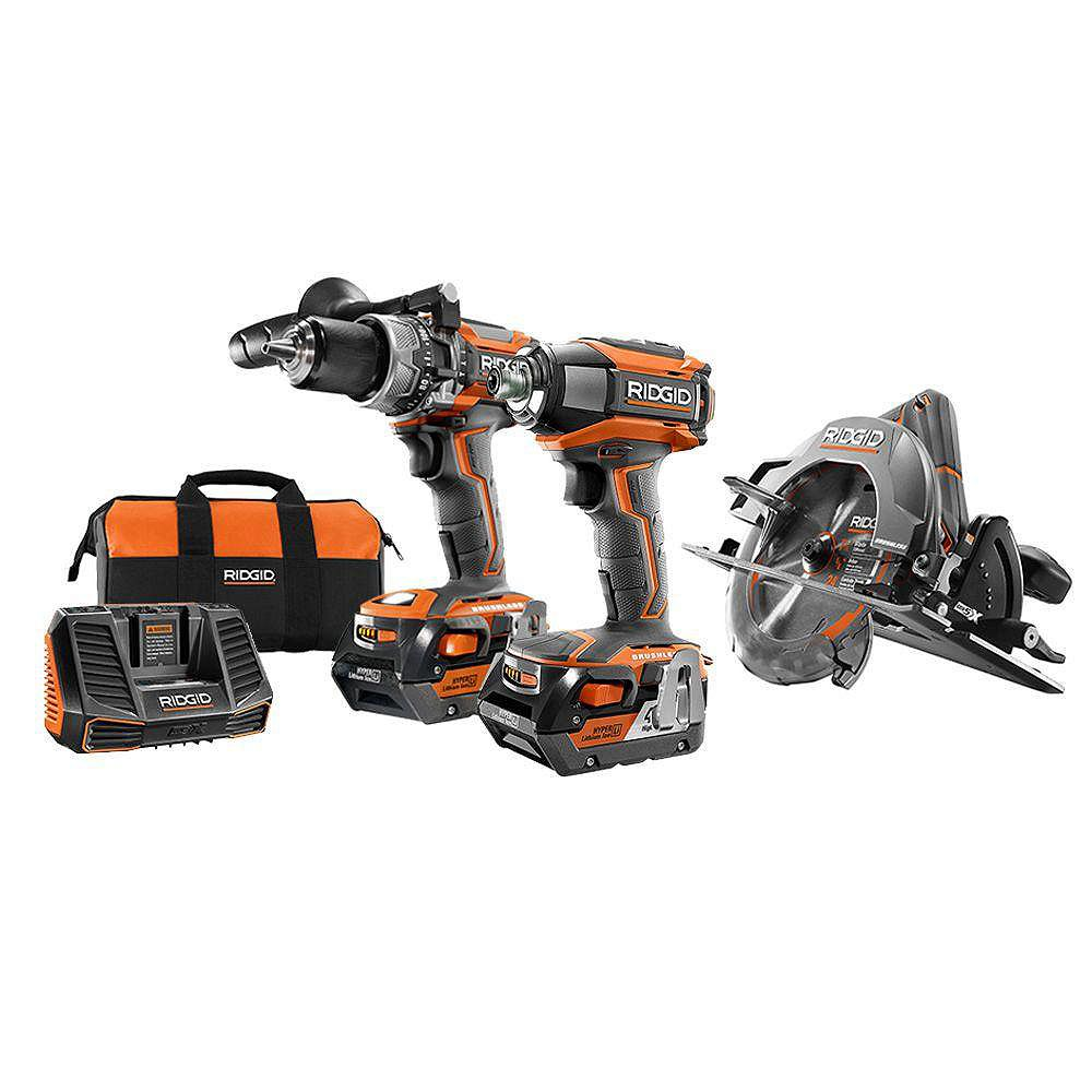 RIDGID 18V Cordless Brushless Combo Kit (3-Piece) with Hammer Drill, Impact Driver and Circular Saw