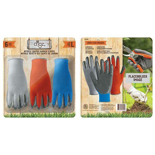 nitrile enduit 6 gants de paquet, un grand
