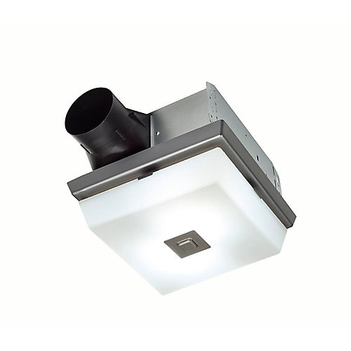 InVent Decorative Polished Steel 70 CFM Ceiling Exhaust Fan with White Globe and Light
