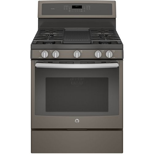GE 30-inch 5.6 cu. ft. Single Oven Gas Range with Self-Cleaning Convection Oven in Slate