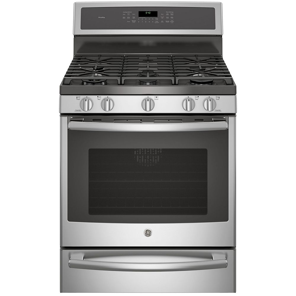 """GE 30"""" 5.6 cu. ft. Single Oven Dual Fuel Range with Self-Cleaning Convection Oven in Stainless Steel"""