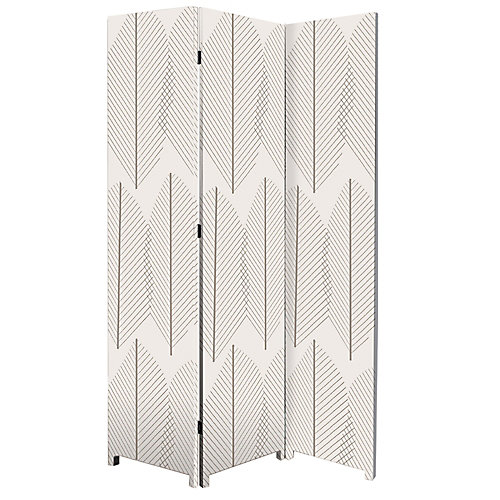 Bota Stretched Canvas Triple Panel Floor Screen Room Divider - Double Sided Artwork - Leaf Design 47.5x71x1 Inch.