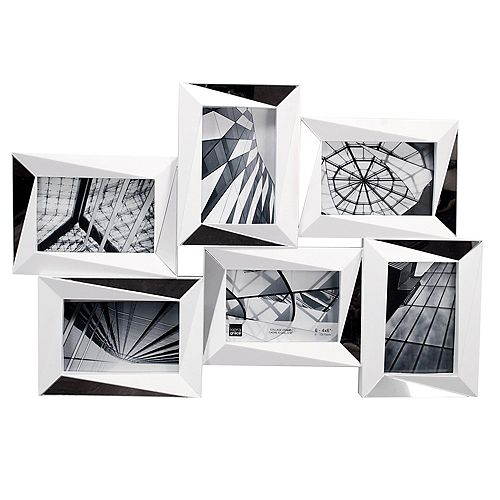 Mira miroir 15 x 22.5 po cadre mur blanc Collage - détient les photos 6- 4 x 6 po Photos