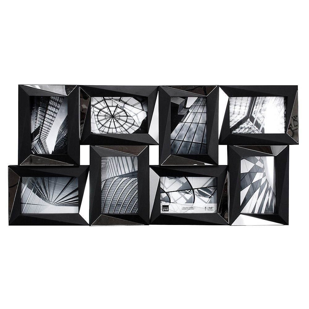 Kiera Grace Mira Mirrored 15x28 Inch.  Black Wall Collage Frame - Holds 8-4x6 Inch.  Photos