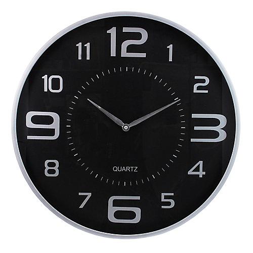 "Moderne 18"" Horloge murale avec grand cadran et Sleek Silver Profil"