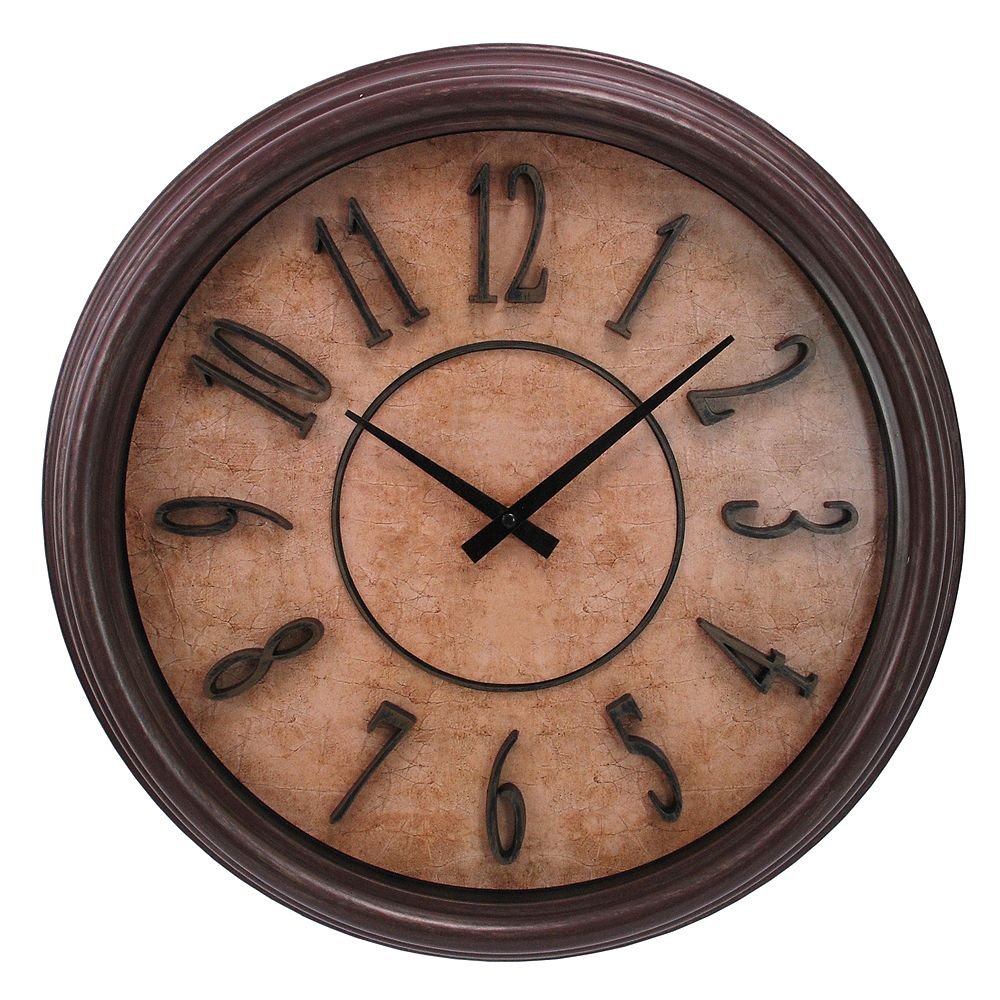 Kiera Grace Brown Wood Grain 18 Inch.  Wall Clock With Raised Numbers And Distressed Face