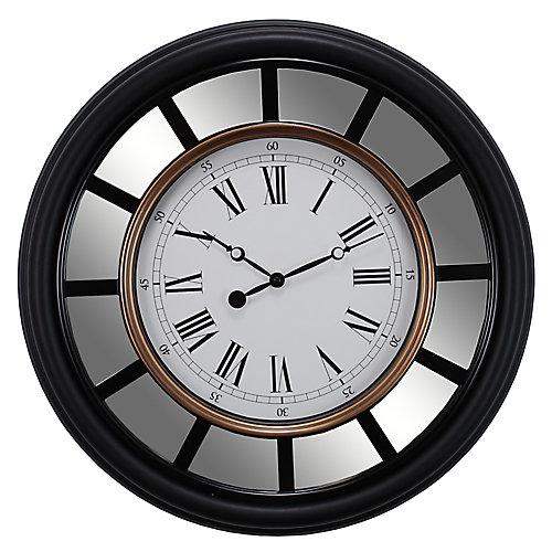 """Vintage miroir 22"""" Horloge murale avec profil moulé lisse et équilibre d'or"""