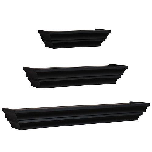 nexxt Madison Set of 3 Wall Shelf, 12 Inch. , 16 Inch. & 24 Inch. - Black