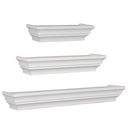 Madison Set of 3 Wall Shelf, 12 Inch. , 16 Inch. & 24 Inch. - White