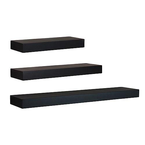Maine Wall Shelf, 12 Inch. , 16 Inch. & 24 Inch. - Black (Set of 3)