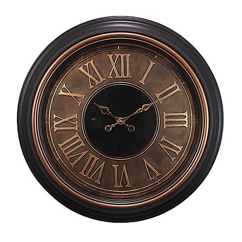 Surdimensionné 23 po Horloge murale avec chiffres romains soulevées dans Antique Terminer cuivre et d'or Garniture