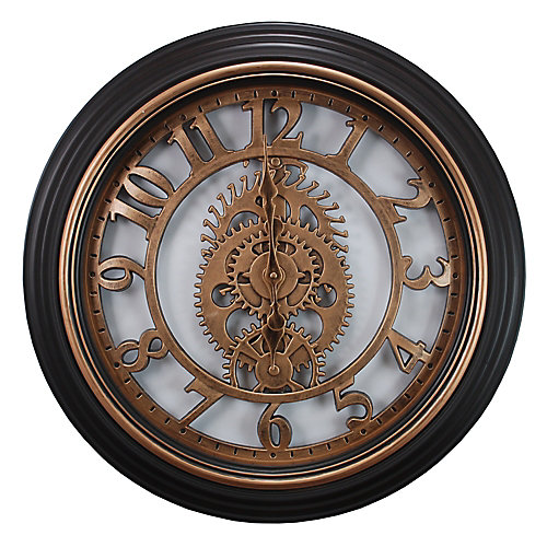 Gears 20 po Horloge murale En Bronze Terminer