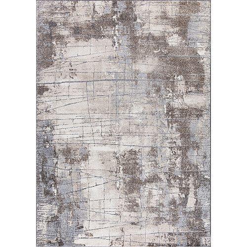 Carpette d'intérieur, 5 pi 3 po x 7 pi 4,6 po, style transitionnel, rectangulaire, gris Ibiza