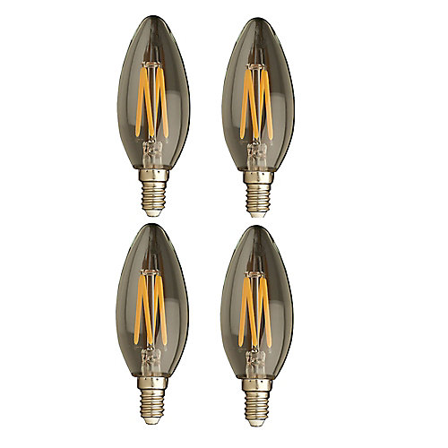 40W Equivalent Clear Filament 2700K Candlelabra E12 CRI90 ES Dimmable LED Light Bulb ENERGY STAR (4-Pack)