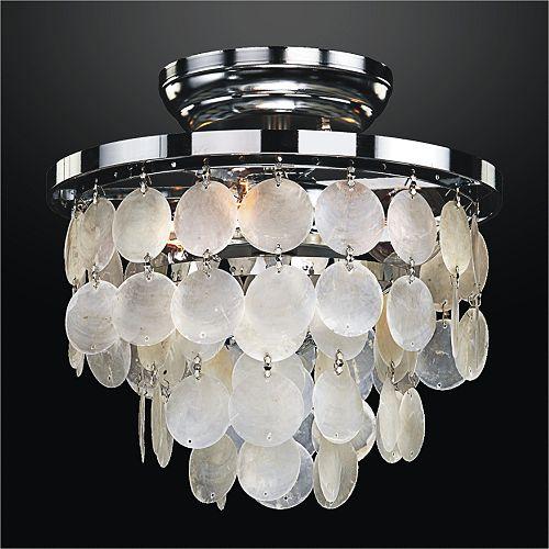 Glow Lighting 10-inch W Round Capiz Shell Flush Mount Light Fixture