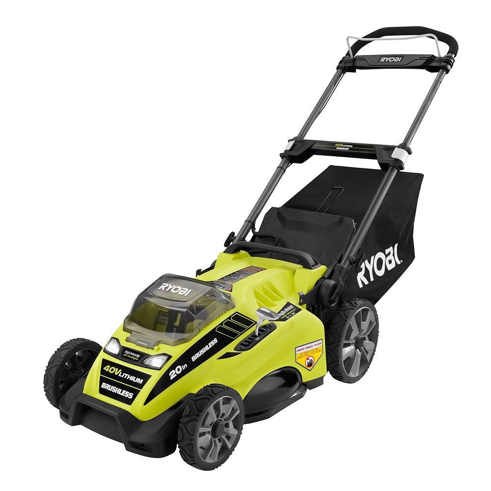 RYOBI 20-inch 40V Lithium-Ion Brushless Cordless Push Lawn Mower w/ 5.0 Ah Battery & Charger