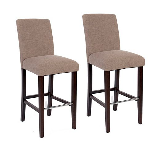 Harper Solid Wood Brown Full Back Armless Bar Stool with Beige Polyester Seat - (Set of 2)