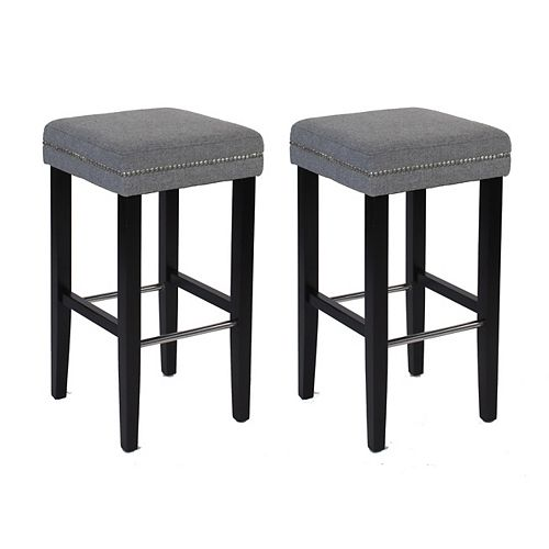 Sawyer Solid Wood Brown Traditional Backless Armless Bar Stool with Grey Polyester Seat (Set of 2)