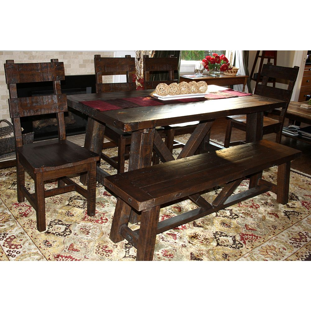 JR Home Collection Reclaimed Wood Rustic Dining Set