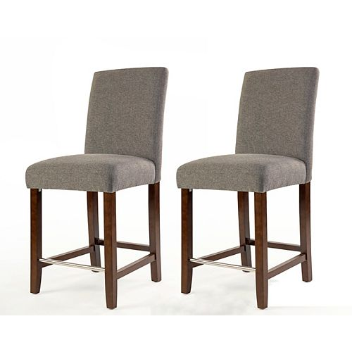 Harper Solid Wood Brown Traditional Full Back Armless Bar Stool with Grey Polyester Seat - (Set of 2)