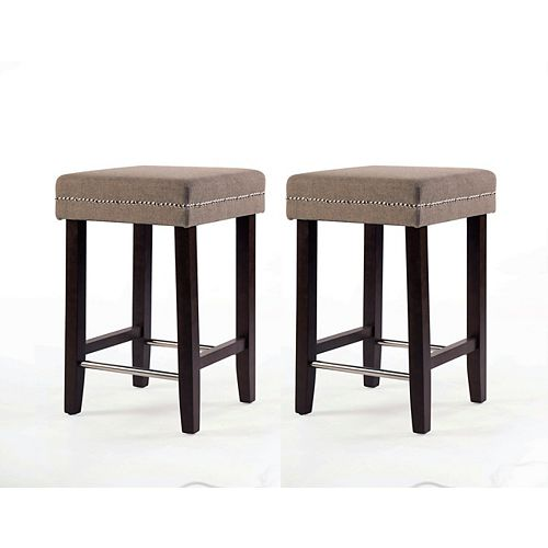 Sawyer Solid Wood Brown Traditional Backless Armless Bar Stool with Beige Polyester Seat (Set of 2)
