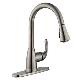 Market Single-Handle Pull-Down Sprayer Kitchen Faucet in Stainless Steel
