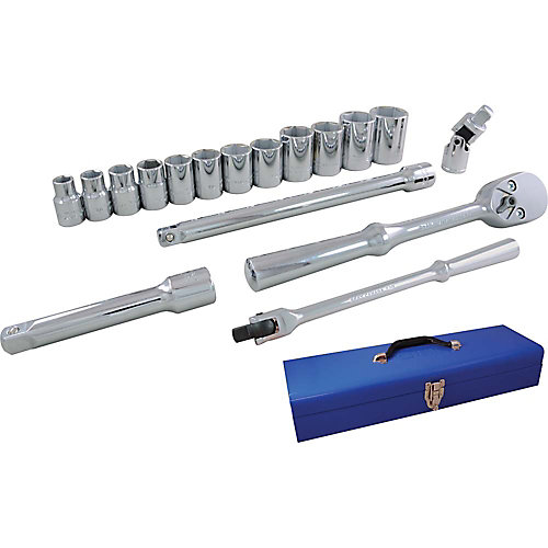 Socket & Attachments Set 17-Piece 1/2 Inch Drive 6 Point Standard Sae
