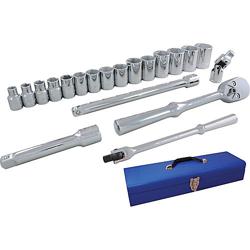 Socket & Attachments Set 20-Piece 1/2 Inch Drive 6 Point Standard Sae
