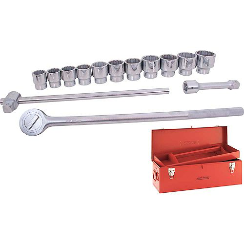 Socket & Attachments Set 15-Piece 1 Inch Drive 12 Point Standard Sae