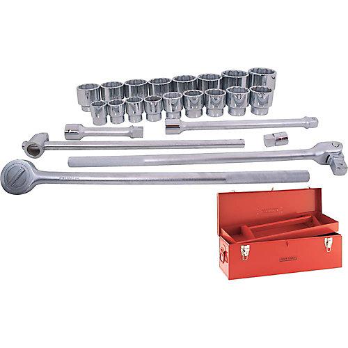 Ensemble d'accessoires et de douilles standards SAE, prise 1 po, 12 pans, 24 pièces