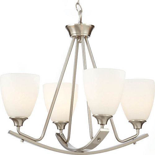 Home Decorators Collection Stansbury Collection 22-inch 4-Light Brushed Nickel Chandelier with Etched Hammered Glass Shades